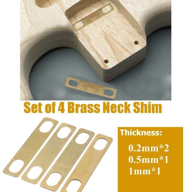 buy 4pcs brass guitar bass neck shims 1mm thickness for string. Black Bedroom Furniture Sets. Home Design Ideas
