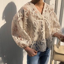 2019 Summer Women Casual V-Neck Sexy Shirt Fashion Lace Embroidered Blouses Transparent Beach Tops Female
