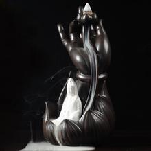 Buddha Hand Ceramic Backflow Incense Burner Smoke Waterfall Holder Buddhist Decoration Aromatherapy Environment