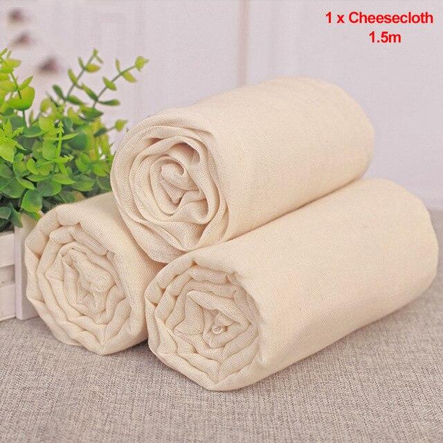 1.5m Tự Nhiên Thân Thiện Với Môi Trường Thoáng Khí Không Tẩy Trắng Dụng Cụ Nhà Bếp Gạc Đậu Bánh Mì Lọc Có Thể Tái Sử Dụng Cheesecloth Cotton