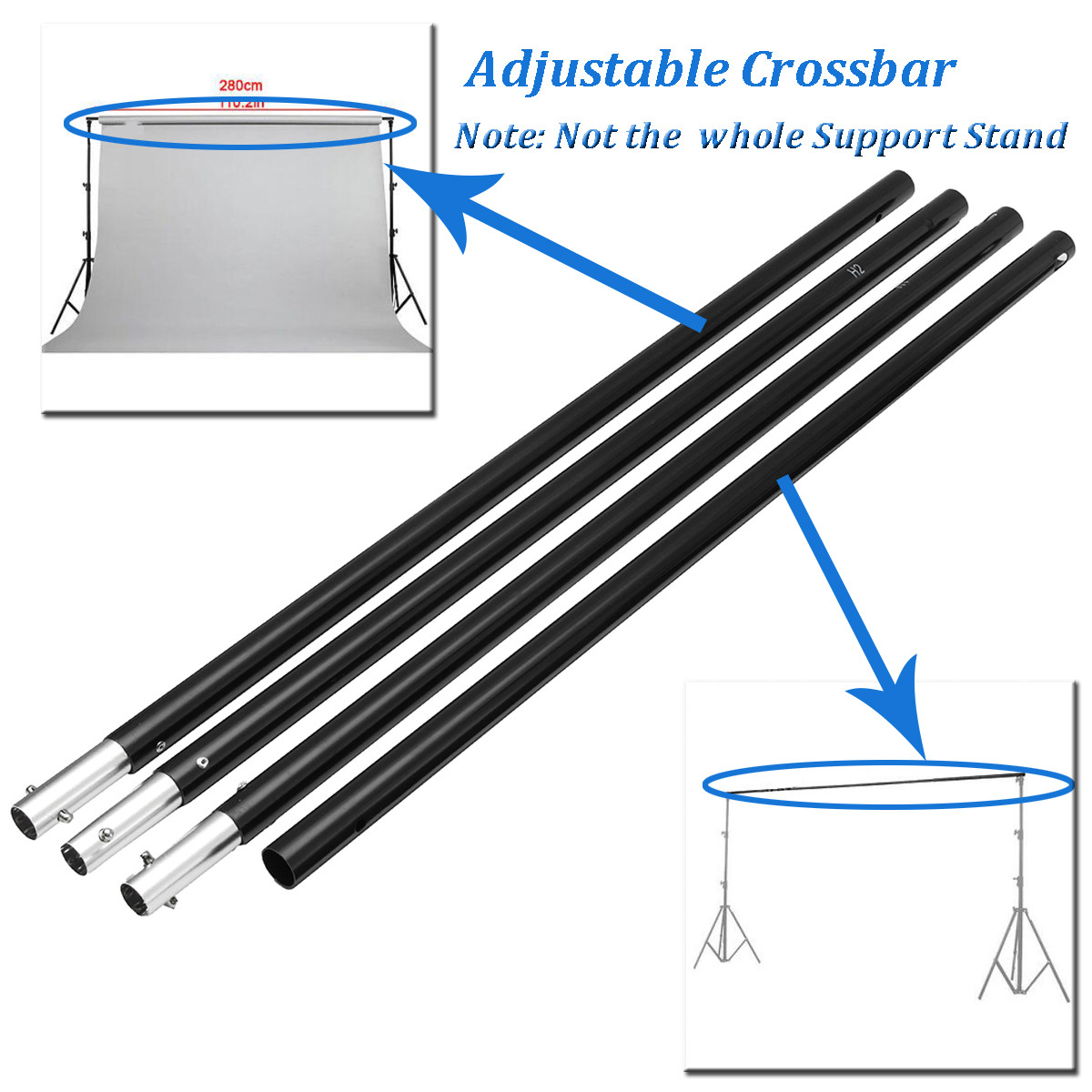 2.8m/9.2ft Adjustable Crossbar for Photography Background Support Photo Backdrop Stand System for Photo Studio photo studio 2 6 3m adjustable background support stand photo backdrop crossbar kit photography equipment