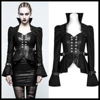 PUNK RAVE Women Steampunk Fake Two piece Jacket Coat Gothic Fashion Trumpet Sleeve Personality Short Women Jacket