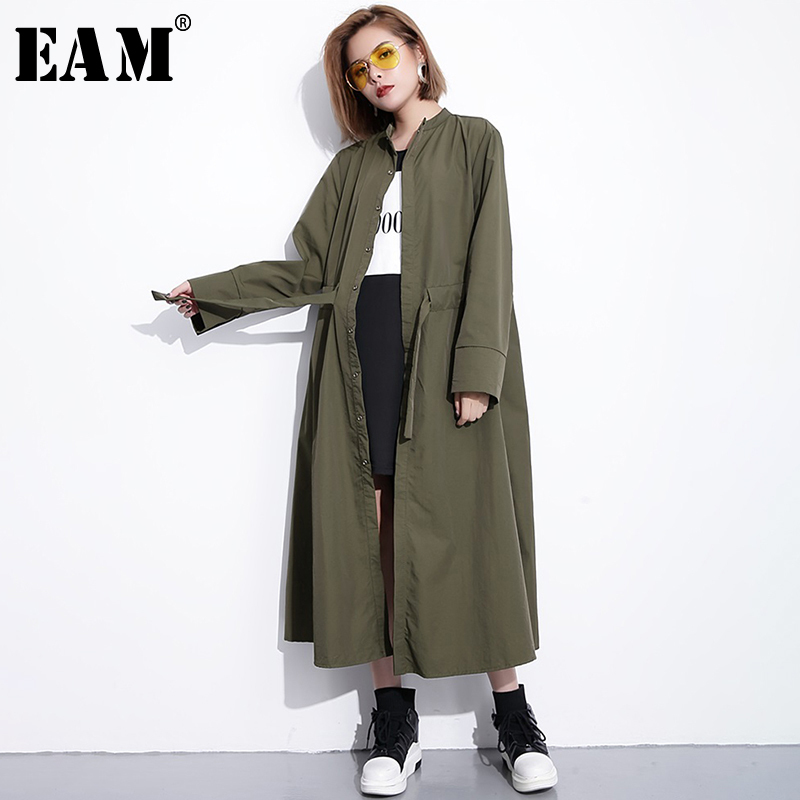 [EAM]2020 New Spring Stand Collar Long Sleeve Brief Loose Long Waist Drawstring Windbreaker Women Coat Fashion Tide JH336
