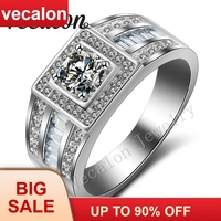 Vecalon Men Engagement Band Solitaire 1ct Cz AAAAA Zircon stone 10KT White Gold Filled Wedding Ring for Men Sz 7 13