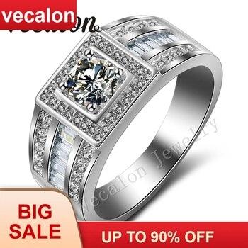 d02605cff4c0 Vecalon hombres anillo de compromiso solitario 1ct Cz AAAAA Zircon piedra  10KT oro blanco lleno anillo de boda para hombres Sz 7 -13