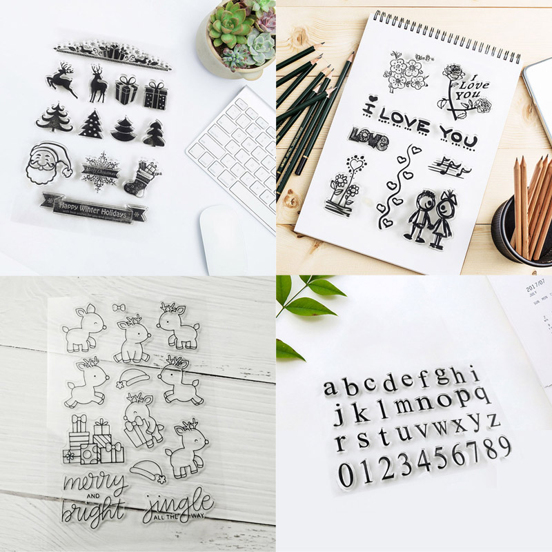 Clear Seal Stamp Sheet Embossing Transparent Silicone Stamps Stationery Child Toy English Alphabet Number DIY Scrapbooking number