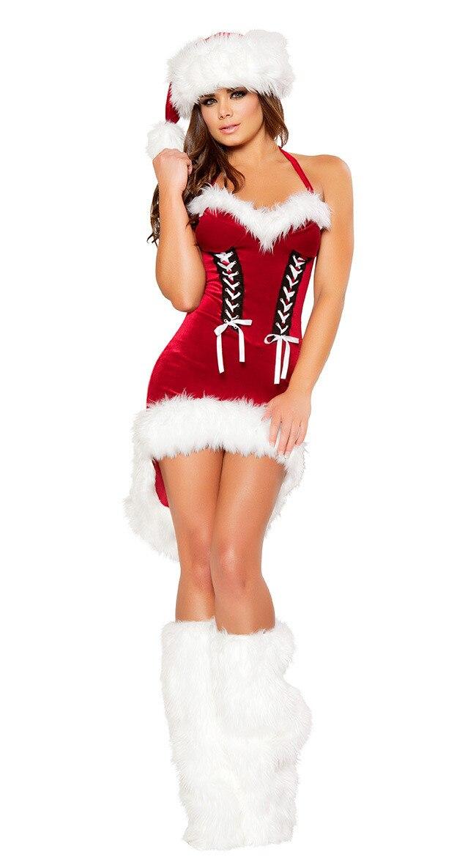 Sexy Santa Claus Costumes Women Velvet Halter Strapless Christmas Dress Tuxedo With Hat  Leg Warmers