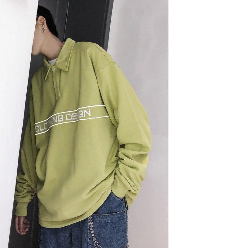 Lâche Jeunes Nouveau Carré Lettre Vêtements Printemps 19 Pull blue Personnalité fluorescence De Impression Black Coton Col Green Polo Décontracté Hommes qwxOYvv