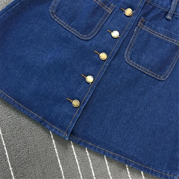 Denim Skirt Spring Summer Women Short A-line Buttom Skirts High Waist Slim Pocket Clothes For Female Causal Summer Women Skirt 4