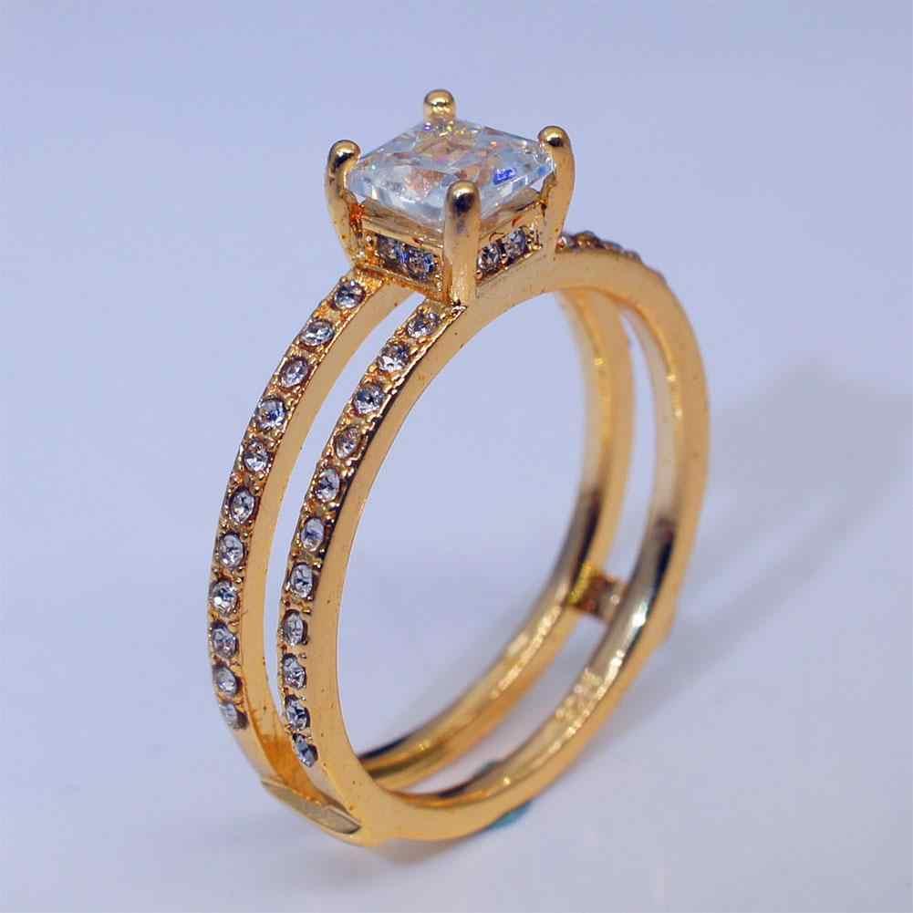 f8c205e8f5 XY Fancy Women Ring Double Circle Crown Ring Rhinestone Princess Engagement  Ring Female Jewelry