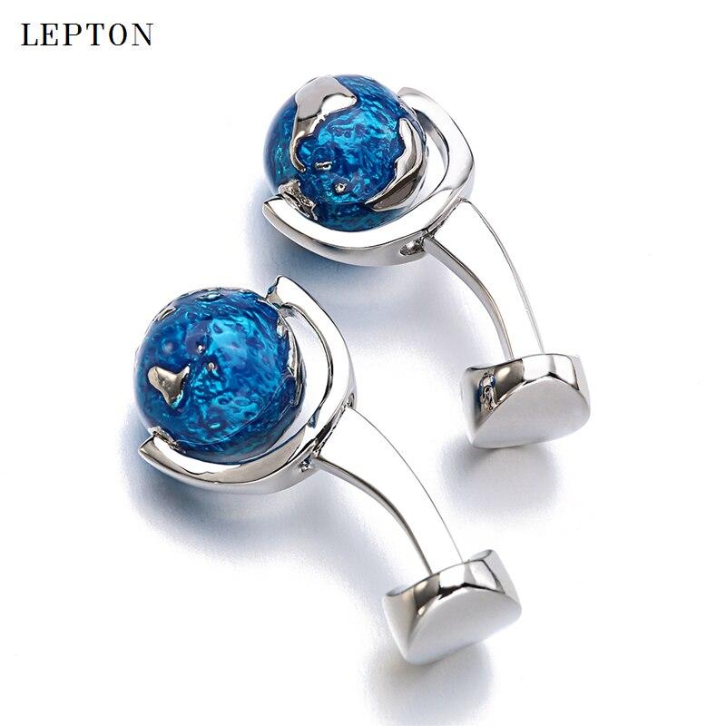 Купить мужские запонки для рубашек вращающийся синий глобус планета