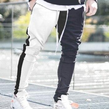 Mens Vogue Patchwork Contrast Color Hip Pop Joggers Pants Male Slim Sportswear Streetwear Pencil Harem Pants Trousers Slacks 1