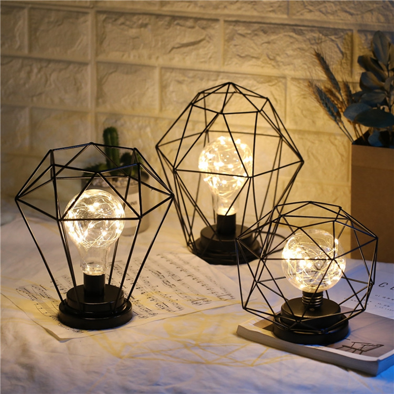 Iron LED Geometric Table Lamp Nordic Style Home Office Decor Pretty Ornament Multiple Iron Wire Made Battery Case Holiday Lamp