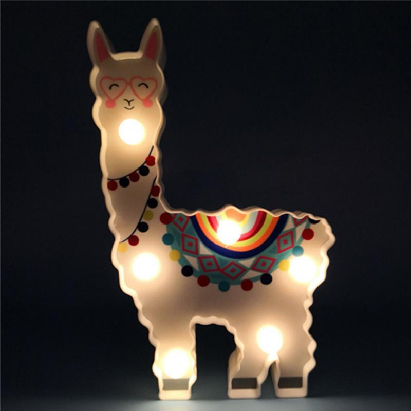 Image 2 - 6 leds Night Lamp Hanging Desktop Battery Powered Cute Light Gift Bedside Path Alpaca Shape Decorative dragon animal style-in LED Night Lights from Lights & Lighting