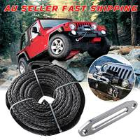 30m*9.5mm Synthetic Winch Rope Line Cable Car Tow Strap 7.5Tons/16500lbs For Vehicle Heavy Off Road Road Recovery Metal Hooks