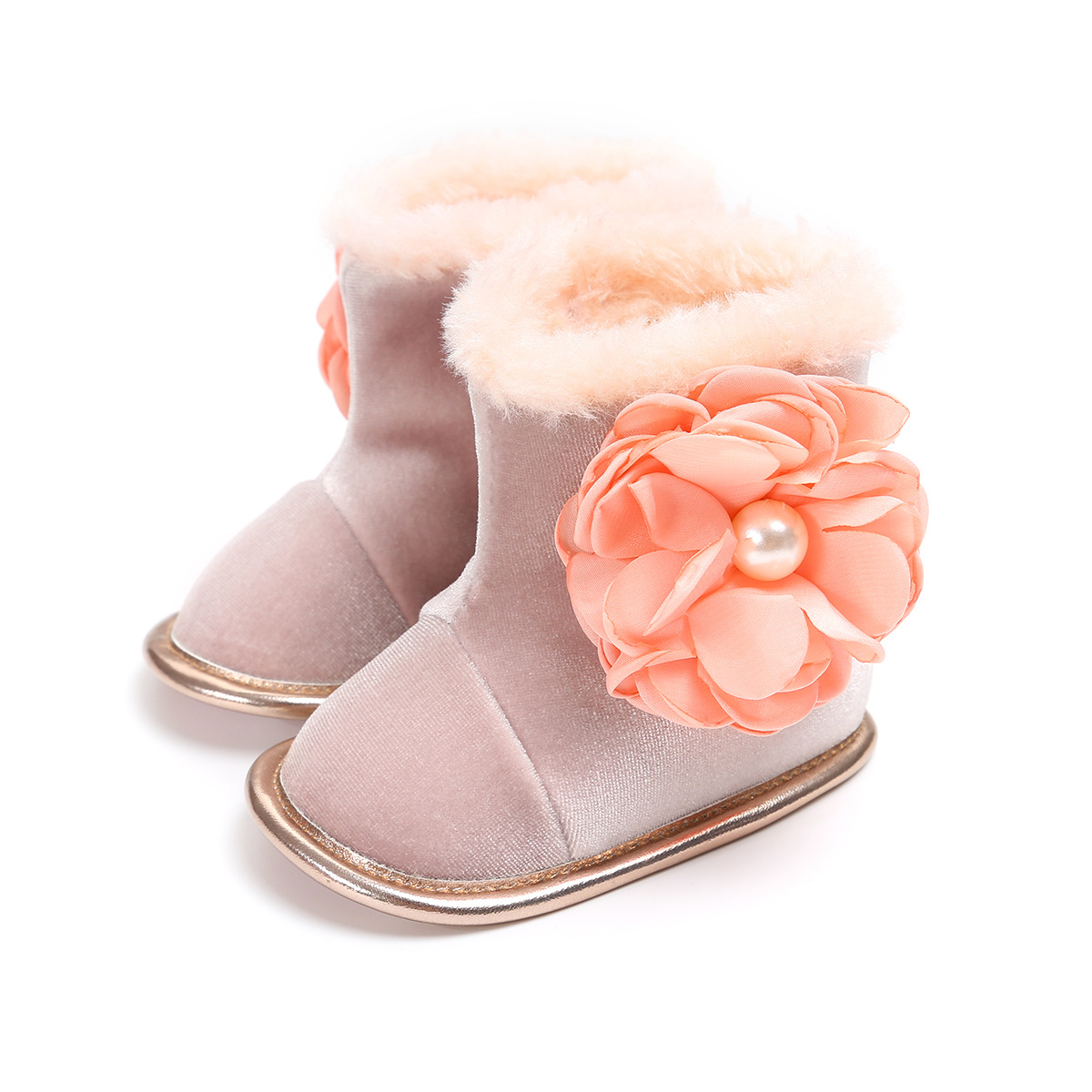 Romirus Baby Girls Winter Snow Boots Cute Flower Infant Bebe Fashion Boots First Walkers