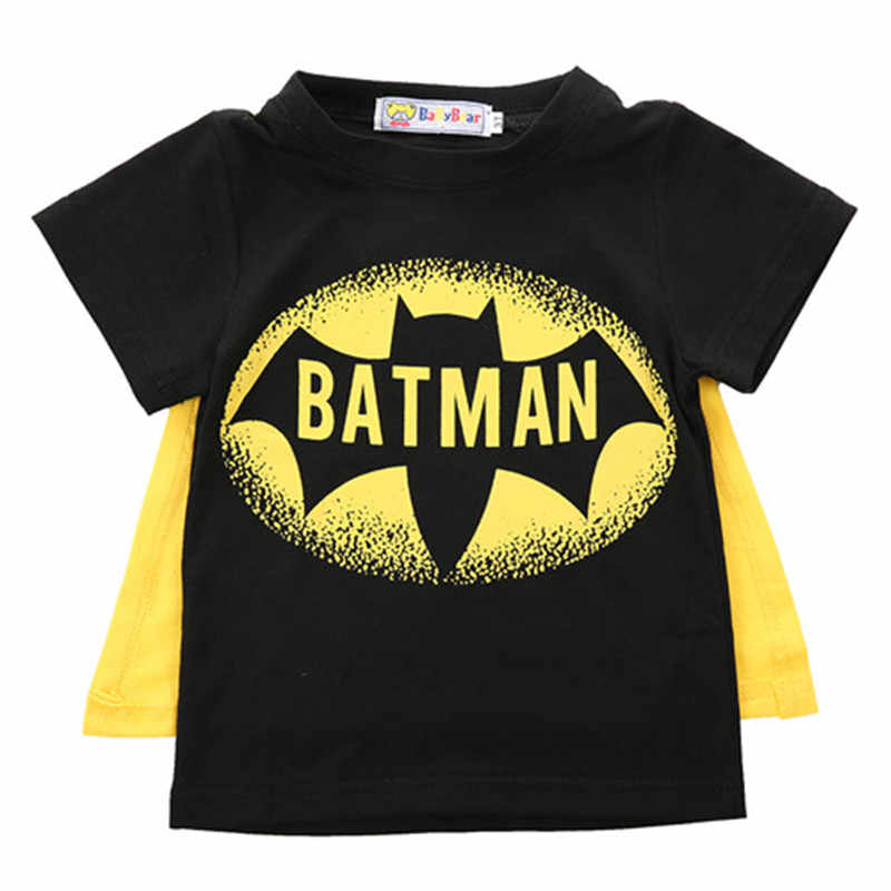 Summer Kids Baby Boys Clothing Fashion Batman Cape Short sleeve Tops T-shirt Baby Boy Clothes Cotton O-neck Short Sleeve