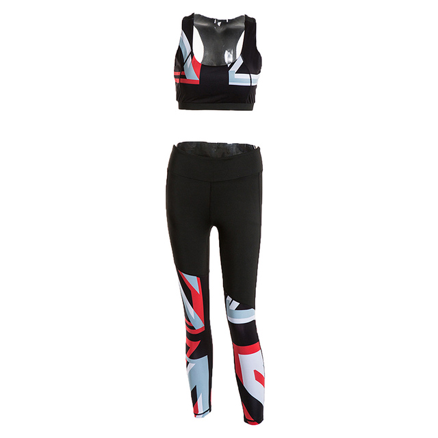2 Piece Elastic Print Slim Sport Suits