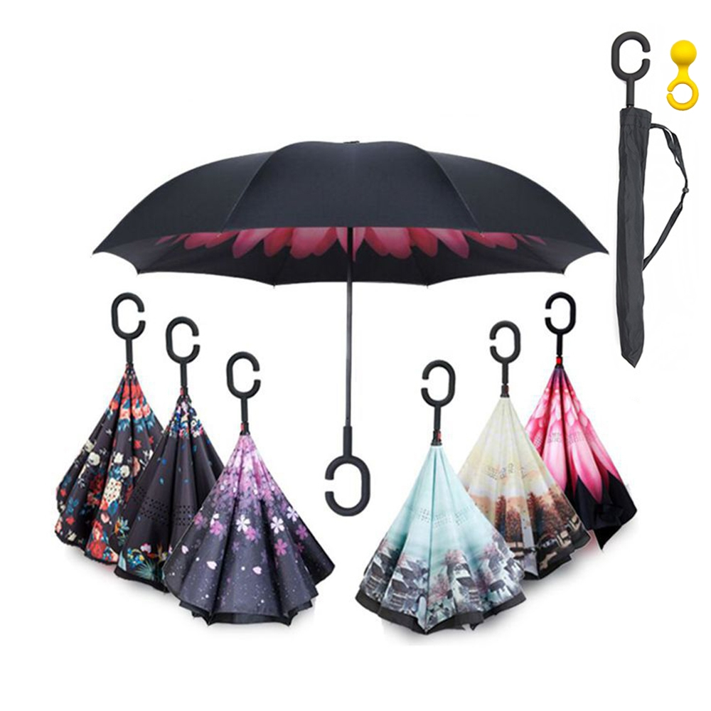 Handle Windproof Reverse Folding Umbrella Man Women Sun Rain Car Inverted Umbrellas Double Layer Anti UV