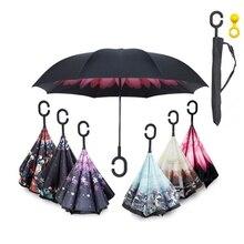 Ручка ветронепроницаемый двухсторонний складной зонт человек Для женщин солнце дождь автомобиля перевернутые Зонтики Двойной Слои Anti UV самостоятельно стоять Parapluie