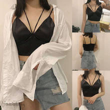 2 Colors Black White Satin Cami Tops Women Bralette Bustier Bra Vest Shirt V Neck Ladies Top Backless Shirts Female Camisole(China)