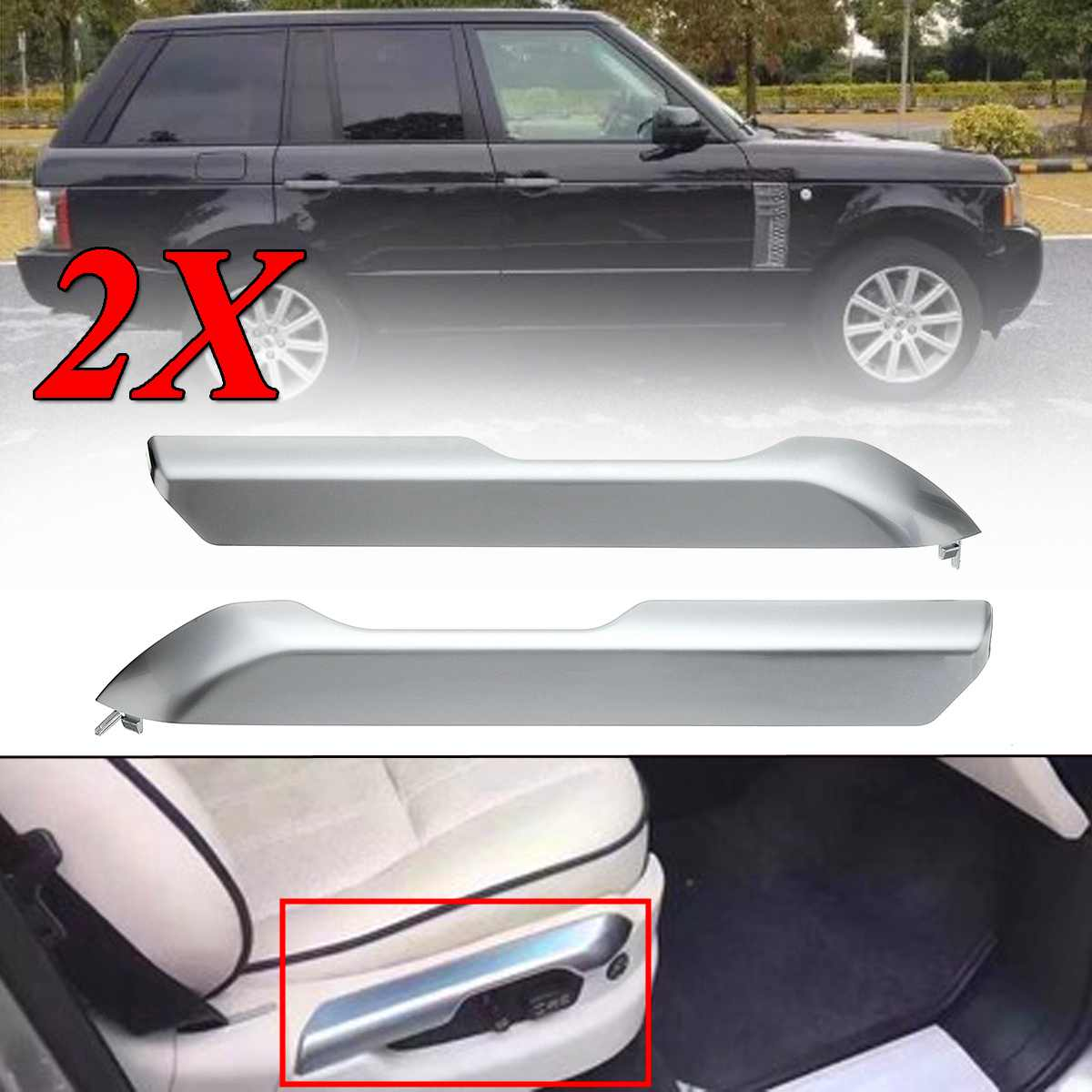 2pcs New Car Front Seat Cushion Valance Chrome Cover Trim For Land Rover Range Rover 2004-2012 Interior Mouldings