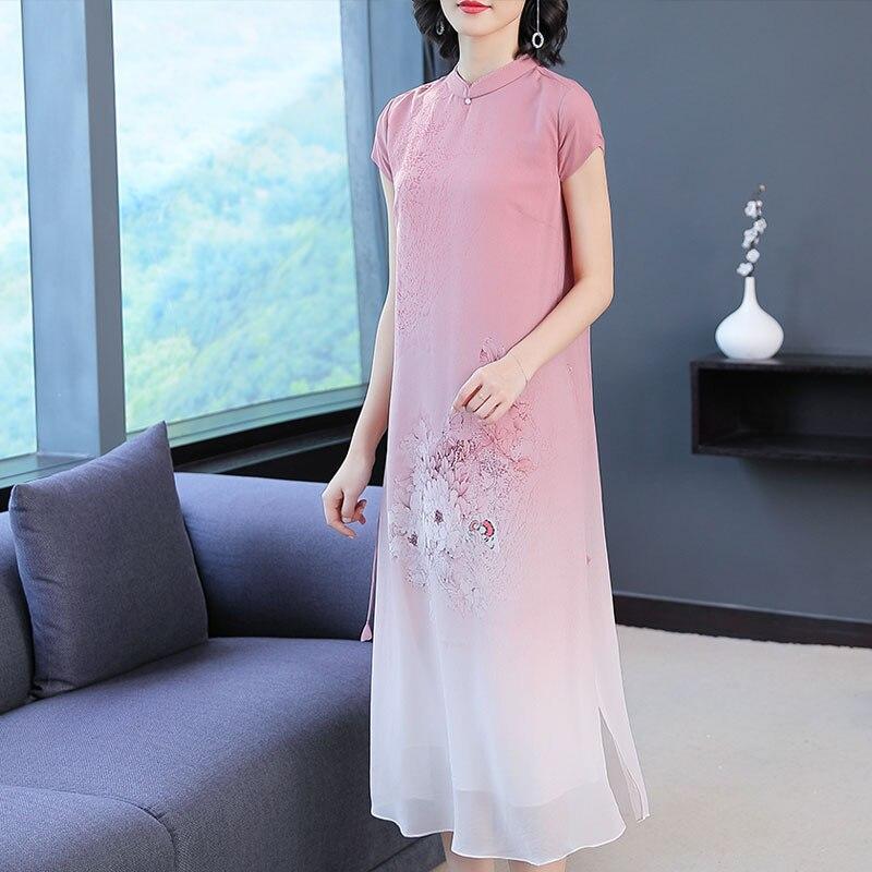 New Women Long dress Chinese Wind Elegant Wealthy Woman Silk Dresses Red Black 6218