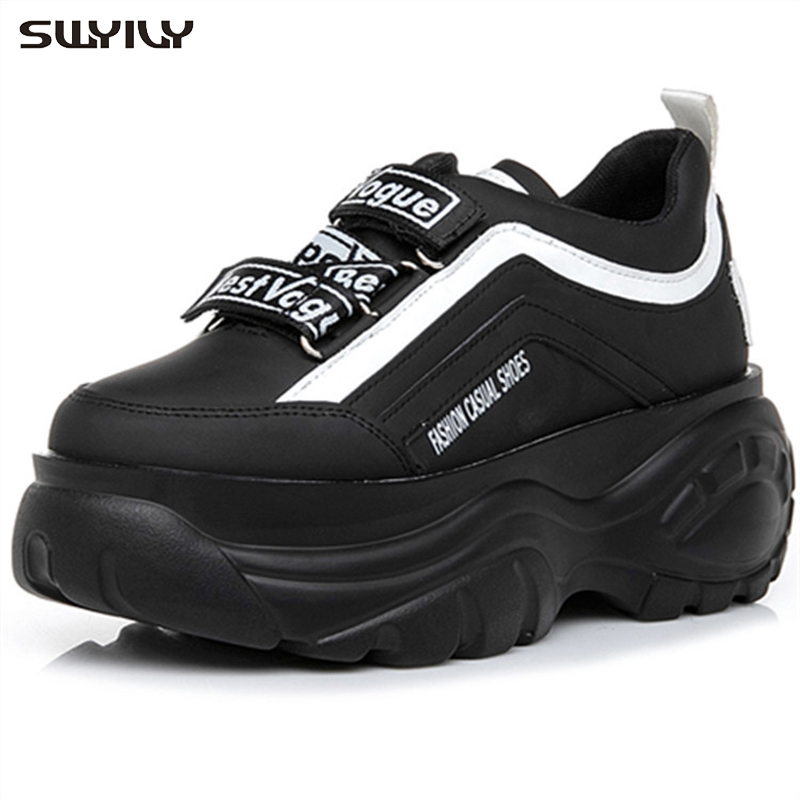 SWYIVY Black Sneakers Women 2019 Spring Female Casual Shoes Platform Shoes Wedge High Heel Chunky Sneakers Platform For Woman