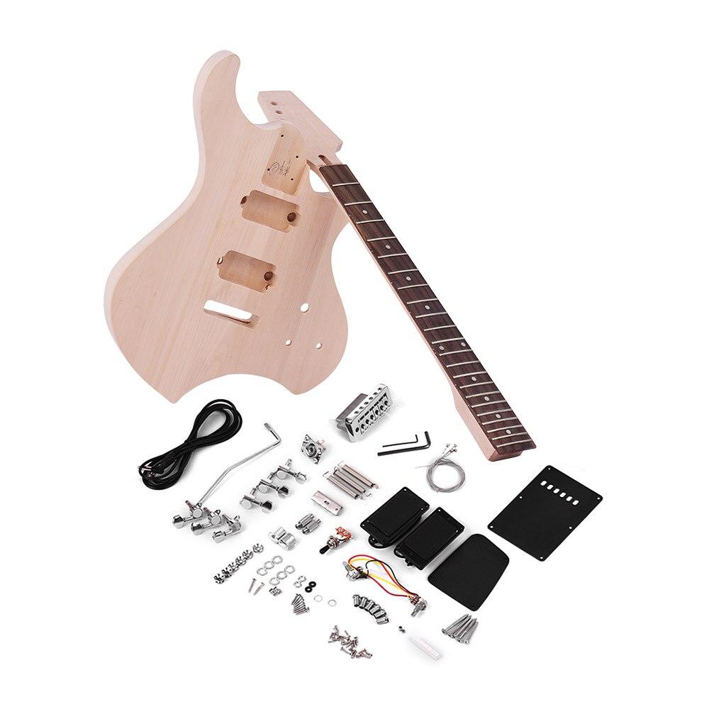 buy muslady unfinished diy electric guitar kit electric guitar diy basswood. Black Bedroom Furniture Sets. Home Design Ideas