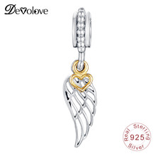 Devolove Angle Wing With Gold Color Heart Dangle Charm Beads Fit Pandora Bracelet Pendant 925 Sterling Silver Dropshipping(China)