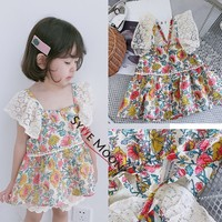 Kids Dress 2019 L&M Brand Spring Summer Girls Lace Flower Embroidery Dresses Baby Children New Fashion Cotton Clothes