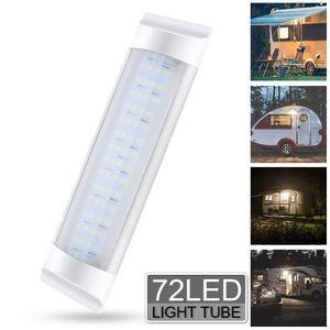 Image 2 - 4 sztuk 72LED wewnętrzna lampka Tube dodatkowa lampa LED do samochodu lampa 24V biały pasek świetlówka przełącznik dla Auto Caravan Trailer/RV części