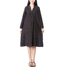 New Vintage Spring Autumn Women Floral Printed Shirt Dress V-neck Long Sleeves Cotton Linen Loose Robe Dresses Vestidos цена