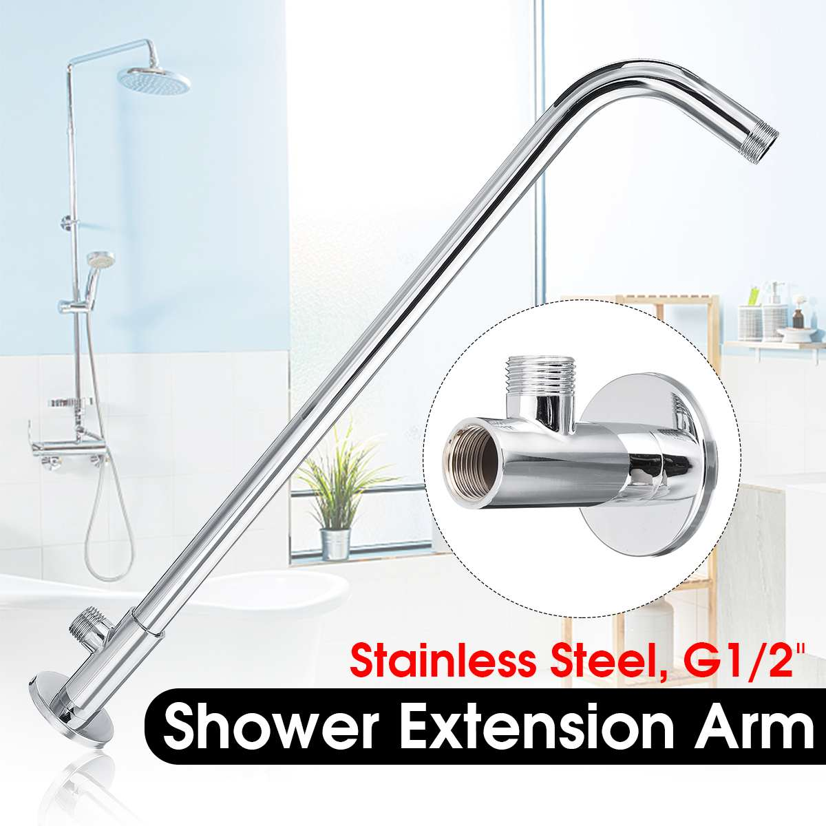 """G1/2"""" Shower Arm Wall Ceiling Mounted Bath Fixed Pipe Stainless Steel Sprayer Hose For Rain Shower Head Bathroom Accessories"""