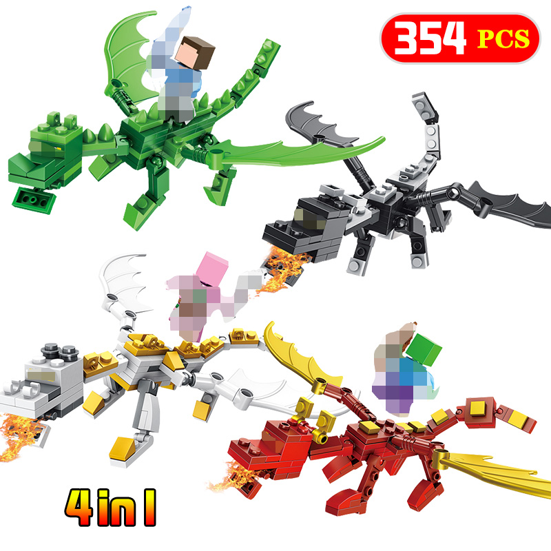 4 In 1 Steve Alex With Dragons Compatible Legoing Minecrafted Figure Model Building Blocks Brick Toys Set  Gift4 In 1 Steve Alex With Dragons Compatible Legoing Minecrafted Figure Model Building Blocks Brick Toys Set  Gift