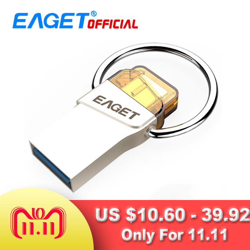 EAGET USB 3.0 Type C USB Flash Drive 64GB 16G Pen Drive 32GB Waterproof Pendrive Flash Disk Stick for Huawei For Xiaomi Phone PC eaget v80 32gb usb 3 0 flash drive