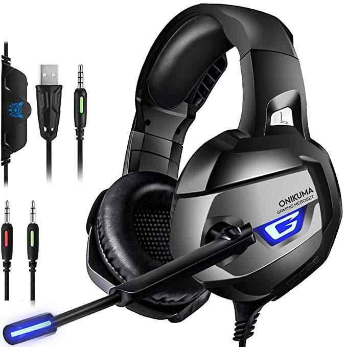 ONIKUMA K5 PS4 سماعة الألعاب casque السلكية الكمبيوتر سماعات ستيريو سماعة رأس بمايكروفون ل جديد Xbox One/كمبيوتر محمول اللوحي Gamer