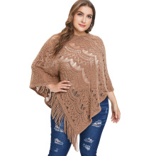 80448a6917f LANGSTAR Plus Size Women Fringed Poncho Sweater O-Neck Asymmetric Hem  Tassels