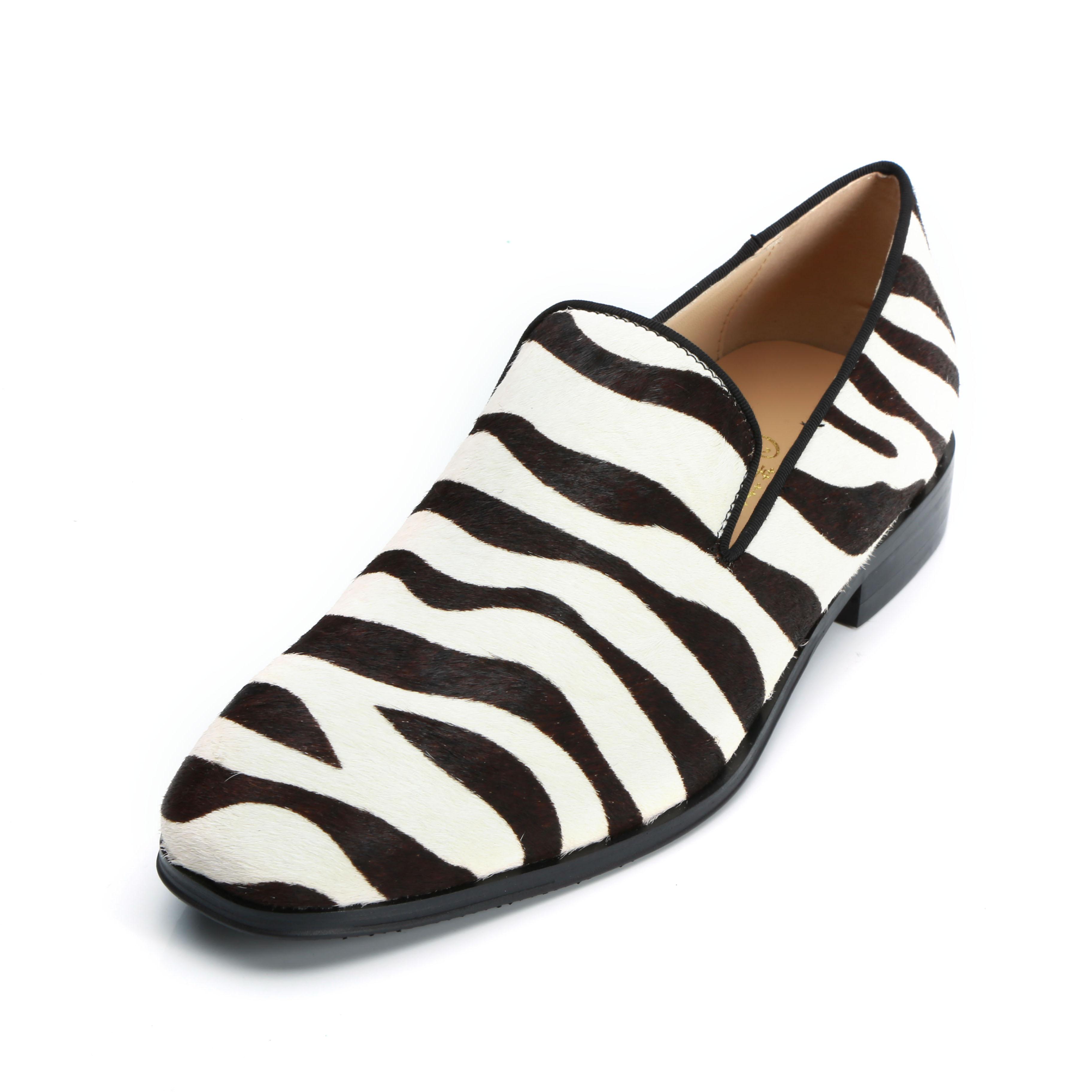Spring leopard zebra print leather men dress shoes slip on flats fashion Men Loafers shoes