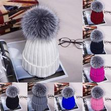 1Pcs Fashion Candy Colors women girls Knitting Keep Warm Hat female Winter Hat Fur Pompom Solid Color Beanie Caps boys girls hat