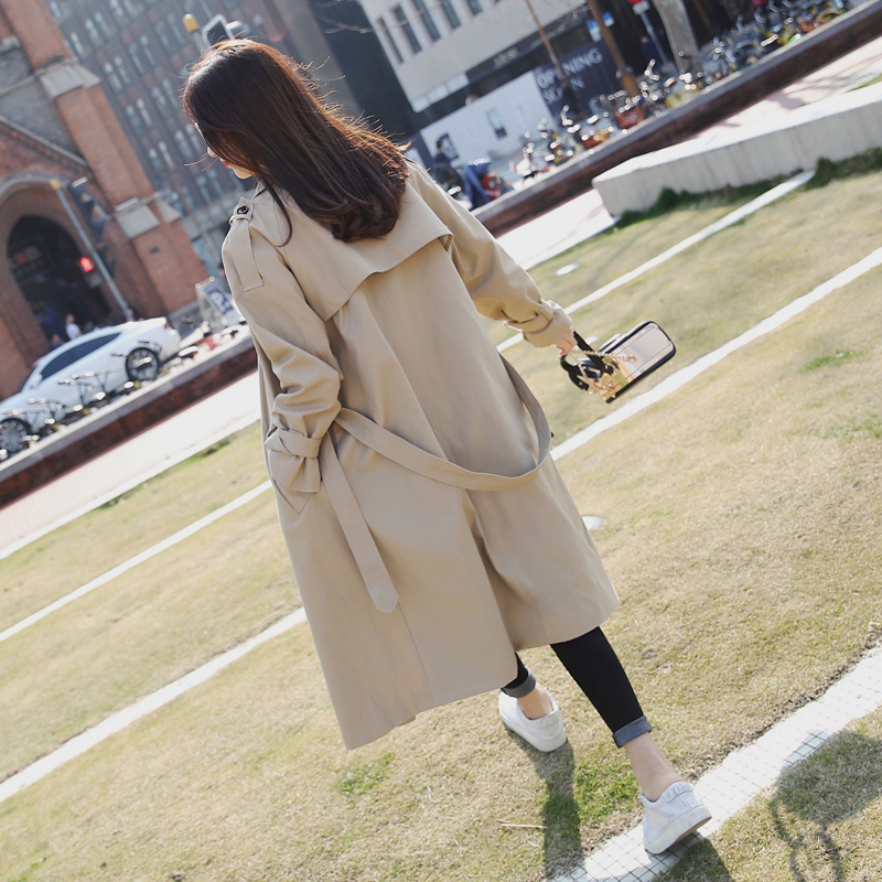 2019 Brand British Female   Trench   Coat for Women Khaki Double Breasted Long Belted Spring Autumn Femme Trenchcoat
