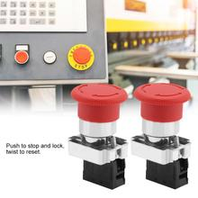 цена на 2PCS/Lot Red Sign Emergency Stop Switch Button 22MM XB5 240V-3A Emergency Button Switch interruptor