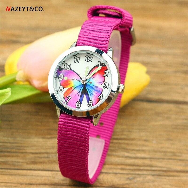 Free Shipping NAZEYT Brand Children Watch Kids Quartz Watch Colorful Butterfly Dial Luminous Hands Little Boys Girls Nylon Watch