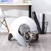 Cute Fully Enclosed Plastic Litter Box Closed Cat Toilet Space Ship Space Capsule Shape Cat Litter Box