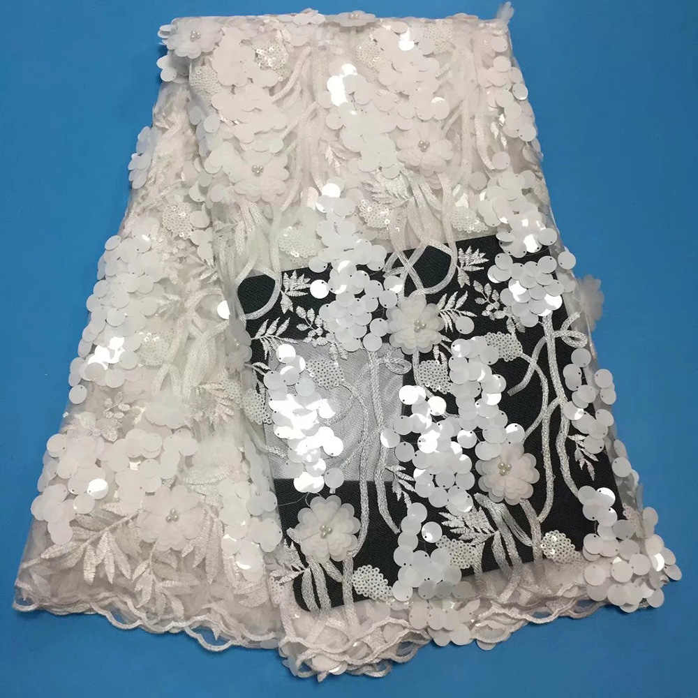 3d Flower Lace Fabric Lace With Sequin Fabric Bridal High Quality Tulle Lace Fabric PartyWedding Embroidery Lace Fabric 5 Yards