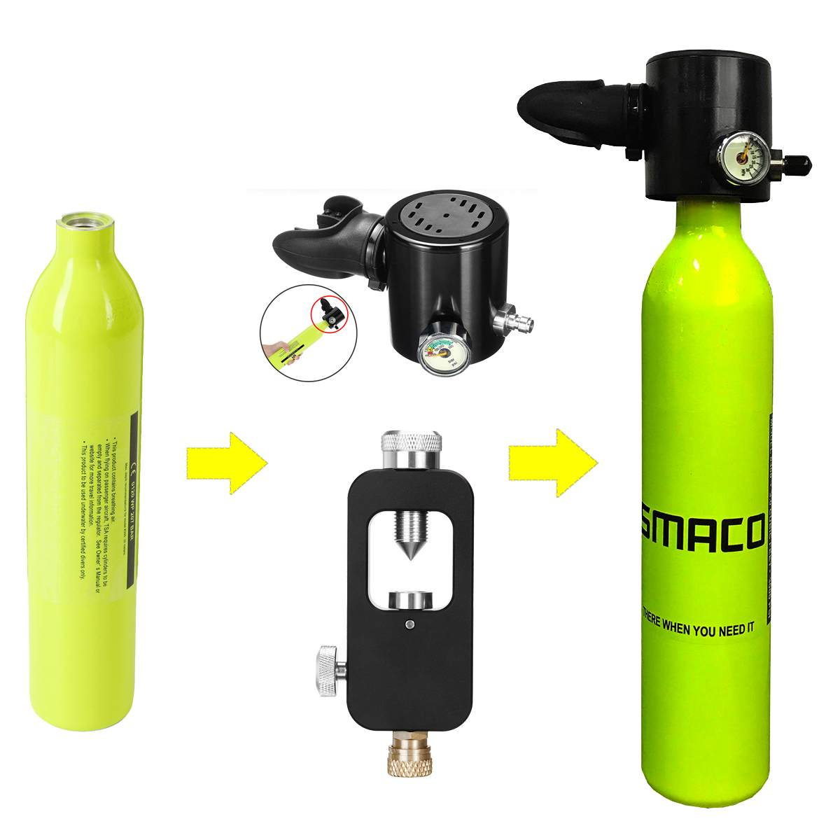 0.5L Mini Scuba Oxygen Diving Equipment Air Tanks Cylinder Head Valve Mouthpiece Adapter Snorkeling Underwater Breathing Device