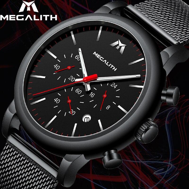MÉGALITHE Mode décontracté montre de sport Pour Hommes Étanche Chronographe Analogique montres à quartz maille noir Montre-Bracelet des Hommes Horloge