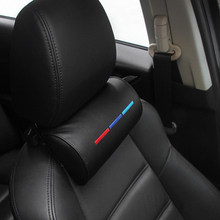 For BMW Car Seat Head Neck Rest Soft Foam Pillow Leather Cushion Pad Black US(China)