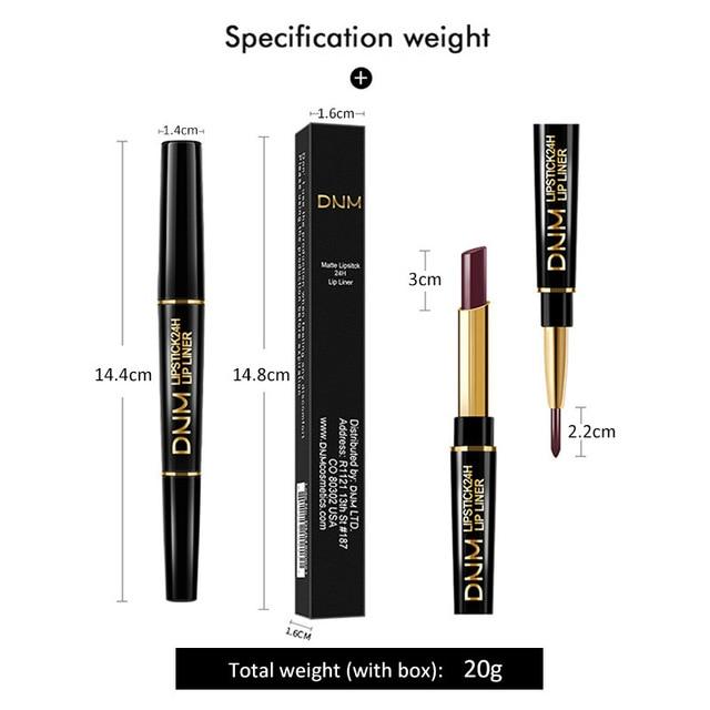 DNM 2 in 1 Lip Liner+Lipstick Long-lasting Waterproof Matte Lip Liner Pen Moisturizing Makeup Contour Cosmetics 12 Colors TSLM1 4