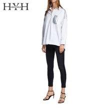 HYH HAOYIHUI 2019 New Women Blouse Boyfriend Wind Asymmetric Hem Metal Stitching Shirt недорого